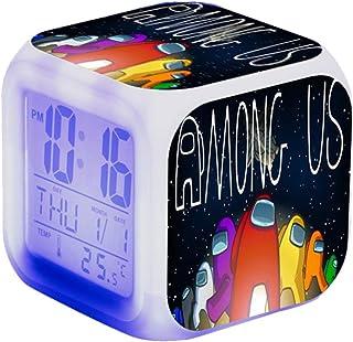 Katyma Digital väckarklocka vakna upp ljus med spelfigur lysande LED digitalklocka 7 färgförändringar dimbar bordslampa kv...