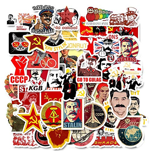 BLOUR 50 Stück/Packung Sowjetunion Stalin UDSSR CCCP Graffiti-Aufkleber für Skateboard-Motorradgepäck Lustige Graffiti-Pegatinas