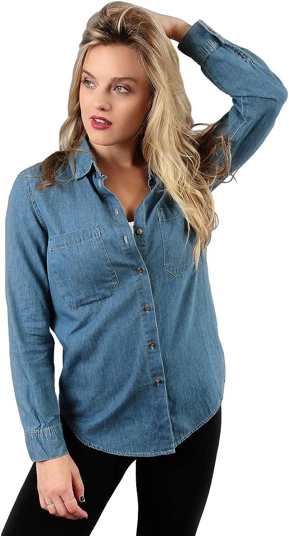 Blue Button Down Denim Shirt Casual Long Sleeve Collared Jean Blouse