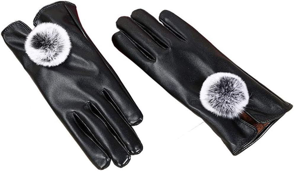 gloves Women's Touch Screen, Winter Cold Padded Pu, Driving/Travel/Banquet Black (23 18 8Cm)