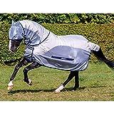Bucas Buzz-Off Rain Full Neck - Silver/Blue Fliegendecke/Ekzemerdecke, im Rückenbereich wasserdicht und atmungsaktiv, Groesse:130