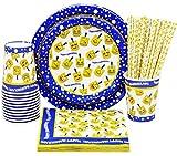 Hanukkah Paper Goods Set - Emoji Dreidel Design - Chanukah Plates - Chanukah Cups - Hanukkah Napkins - Hanukkah Straws