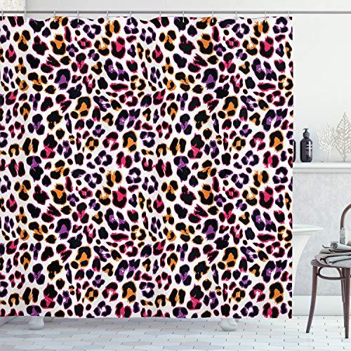ABAKUHAUS afrikanisch Duschvorhang, Leopard Tierhaut, mit 12 Ringe Set Wasserdicht Stielvoll Modern Farbfest & Schimmel Resistent, 175x180 cm, Ringelblume Magenta Violett