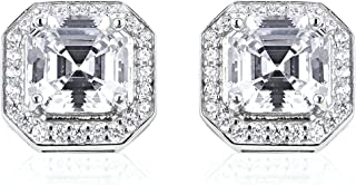 Stud Solitaire Earrings 925 Sterling Silver Rhodium Plated Square White Cubic Zirconia CZ Jewelry for Women Gift