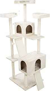 Celeste Cream Cat Tower 69in with Three Scratching Columns, Two Condos, Two Climbing Ramps, Three Edged Platforms, Danglin...