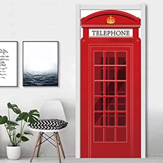 Claresnce Privacy Window Film Decorative Glass Sticker,Retro Quotes English Letter Door Stickers for Living Room Bedroom 3D Telephone Booth Mural Decal Home Decor (30.3 x 78.7 Inch)