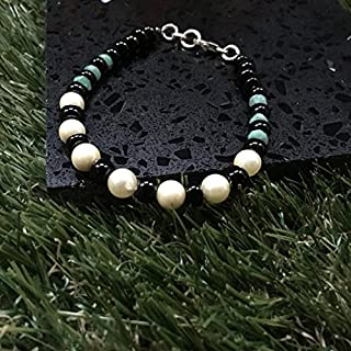 Emerald black onyx & Cream Pearl gemstone 925 sterling silver bracelet 4x3mm - 6mm
