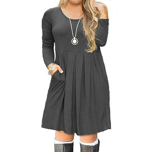 0d4110f27a7 FOLUNSI Women s Plus Size Casual Short Sleeve Long Sleeve Pleated T Shirt  Dress with Pockets