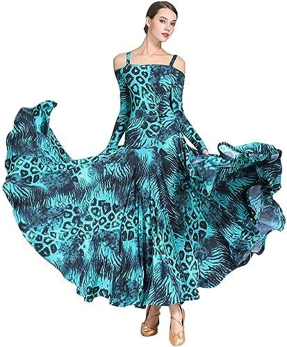 RJ Robes Dames Robe de Danse Moderne Adulte Robe vêtements de Danse en Soie imprimé Glace (Couleur   bleu, Taille   XXL)