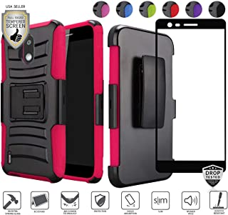 Compatible for Nokia 3.1C 3.1A Case (Not Plus Version) with [Full Edged Tempered Glass Screen Protector], Premium Holster Ultra Tough Strong Dual Layer Hybrid [Shockproof] [Rugged] [Clip] (Hot Pink)