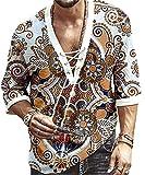 JOK Bloque de Color de los Hombres Rayas Casual Camisa de Manga Larga Botón Top Beach Cuello con Cuello en V Señora Imprimir Camiseta de Yoga, White - 4X-Large