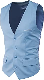 UNINUKOO Men's Four Botton Slim Fit Casual Suit Wedding Party Vest