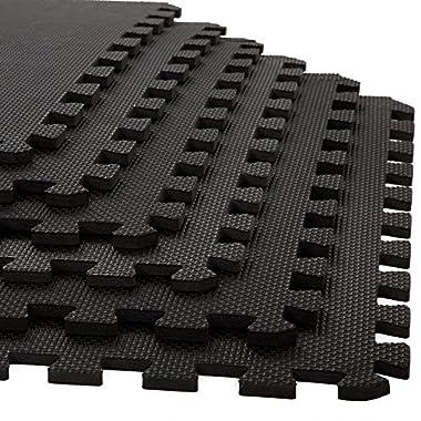 Foam Mat Floor Tiles, Interlocking EVA Foam Padding by Stalwart – Soft Flooring for Exercising, Yoga, Camping, Kids, Babies, Playroom – 6 Pack, 24 x 24 x 0.375 inches, Black