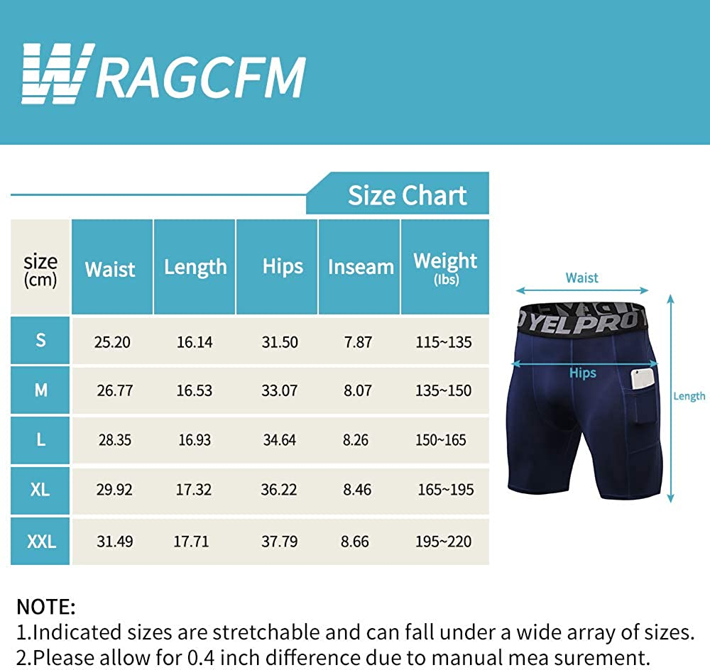 WRAGCFM Mens Athletic Comprtession Shorts with Pockets Spandex Running Workout Active Underwear