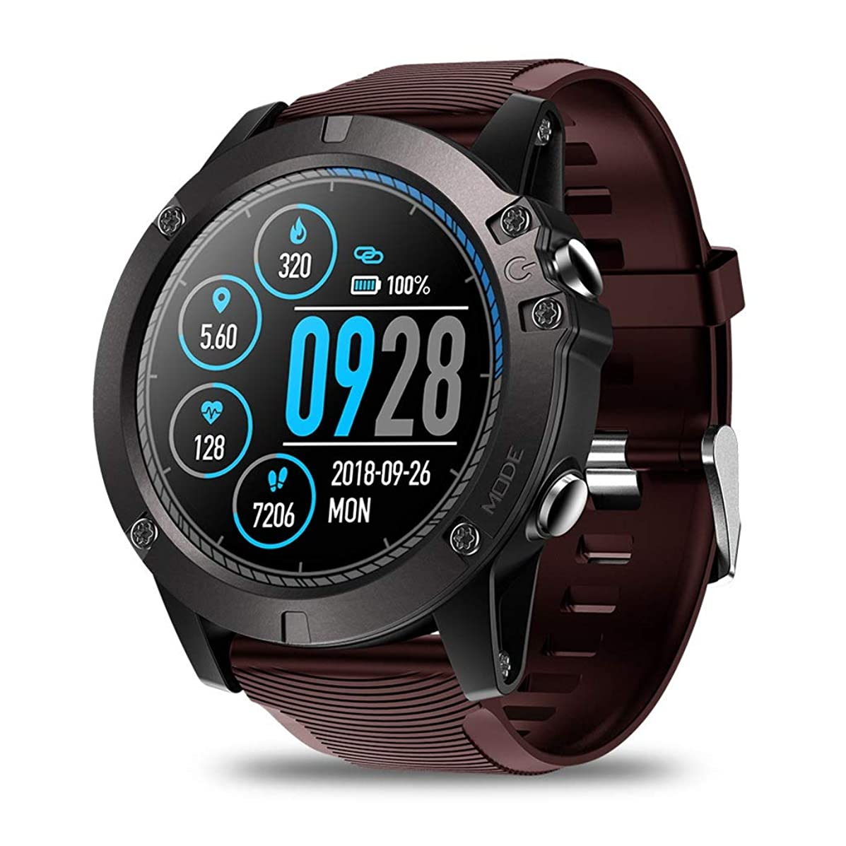 PLY IP67 Waterproof Fitness Tracker Smart Watch|Touch Screen Bluetooth | Heart Rate Detection | Long Standby | Sports Smart Watch (Color : Red)