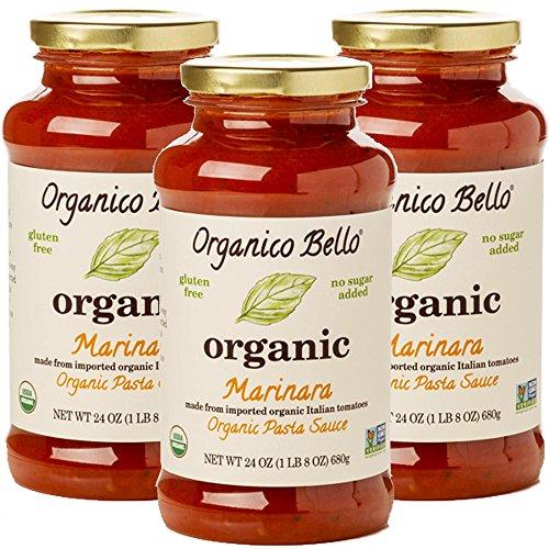 Organico Bello - Organic Gourmet Pasta Sauce - Marinara - 24 Oz - Non GMO, Whole 30 Approved, Gluten Free,Pack of 3