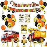 男の子のための誕生日パーティーの装飾ハッピーバースデーバルーン建設誕生日パーティー用品ハッピーバースデーバナー建設車両消防車フォイルバルーン(58個)