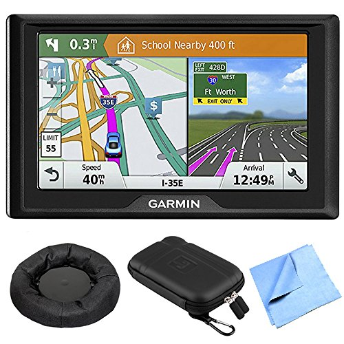 Garmin 010-01678-0B Drive 51 LM GPS Navigator with Driver Alerts - USA Bundle with Hard EVA Case with Zipper for Tablets and GPS, Navigation Dash-Mount & 6 Inch Microfiber Cloth