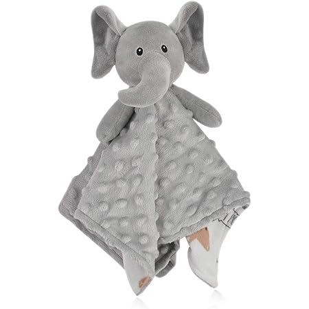 BORITAR Elephant Baby Security Blanket Soft Minky Dot Fabric Lovey Blanket with Lovely Animal Pattern Backing, Stuffed Plush Cuddle Newborn Blankie 14 Inch