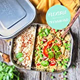 Kantine 51° Nord ® Lunchbox Classic XL   Auslaufsichere 1400ml Edelstahl Brotdose mit 2 Fächern durch Flexible Trennwand