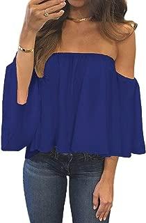 Women Summer Off Shoulder Chiffon Blouses Ruffles Short Sleeves Sexy Tops Casual T Shirts