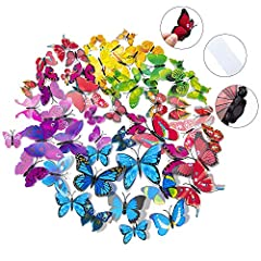 Totally 84 pcs different models 3D butterflies,include Blue,Purple,Green,Red,Pink, Yellow and Multicolor 7 colors. Size: 4Pcs(6cm), 4Pcs(8cm), 2Pcs(10cm) ,2pcs(12cm) each color.Comes with adhesive to help attach to the wall.Each wall stick with magne...