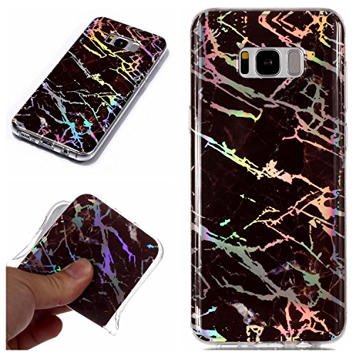 for Samsung Galaxy S8 Plus Glitter Case Marble and Screen Protector,Clear Soft Silicone Phone Case Ultra Thin Slim Fit Gel TPU Bumper Shell,QFFUN Shockproof Anti-Scratch Protective Back Cover - Black