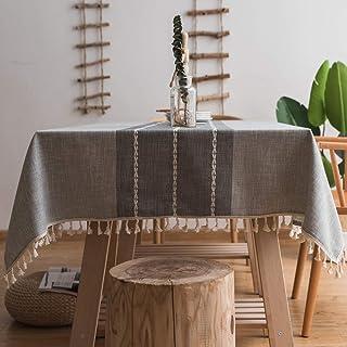 Mantel de Flecos Mantel a Prueba de Polvo de algodón y Lino decoración de Mesa de Cocina Mantel de Comedor Elegante Mantel...