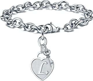 Heart Initial Bracelets for Women Gifts - Engraved 26 Letters Initial Charms Bracelet Stainless Steel Bracelet Birthday Christmas Jewelry Gift for Women Teen Girls