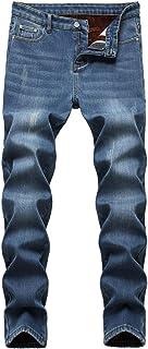 Men's Fleece Lined Stretch Skinny Jeans Winter Thicken Warm Denim Pants