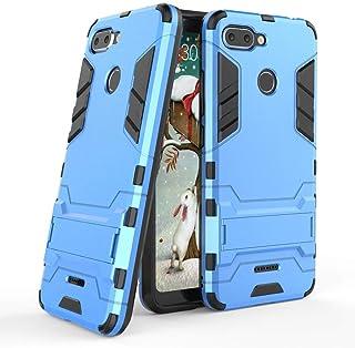 MaiJin Funda para Xiaomi Redmi 6 (5,45 Pulgadas) 2 en 1 Híbrida Rugged Armor Case Choque Absorción Protección Dual Layer Bumper Carcasa con Pata de Cabra (Azul)