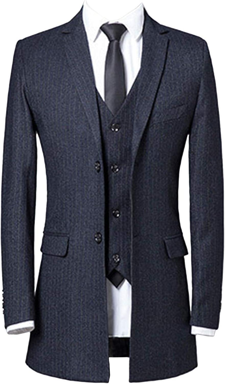 Wemaliyzd Men's 3 Piece Tuxedo Suit Stripe Double 2 Buttons Blazer Long Vest Pants