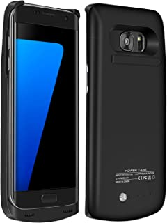 RUXELY Galaxy S7 Edge Battery Case, 5200mAh Portable External Backup Charging Case,Rechargeable Power Charger Pack with Kickstand for Samsung Galaxy S7 Edge(Not for Galaxy S7)(Black)