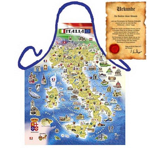 sabuy Grillschürze mit Urkunde - Italien Landkarte - Lustige Motiv Schürze als Geschenk für Grill Fans mit Humor - NEU mit gratis Zertifikat