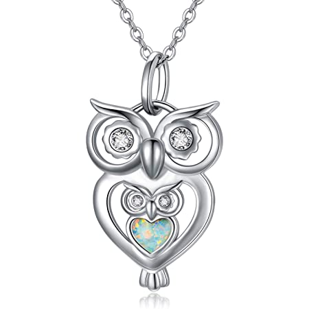 18K Rose Gold Over Sterling Silver Pave Open Owl Necklace Pendant