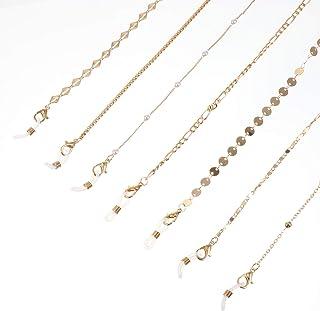DOITOOL 7 Pack Eyeglass Chains, Golden Eyegl String Eyewear Chain Necklace Eyeglass Chains Holder for Women Girls