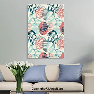 SfeatruAngel_SOSUNG Framed Wall Art Canvas Painting,Seamless Exotic Pattern with Palm Leaves on Geometric Background(12
