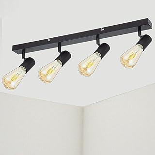 Plafonnier LED 4 Spots Orientables Noir Ketom Luminaire Plafonnier Spot, Métal Vintage Spot de Plafond pour Chambre Cuisin...