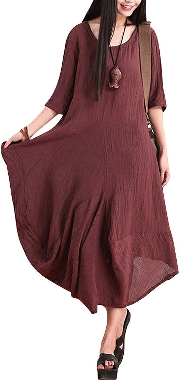 Yolee Women's Round Collar Short Sleeve Irregular Hem Linen Dress