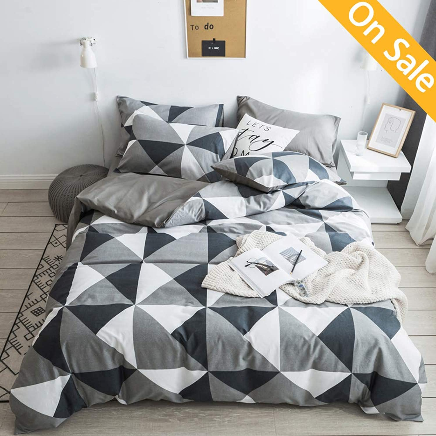 【Latest Arrival】Comforter Cover Queen Triangle Duvet Cover Set Cotton Full Grey Geometric Modern Duvet Cover Reversible Bedding Collection with Zipper Ties for Men Women Teens,NO Comforter NO Sheet
