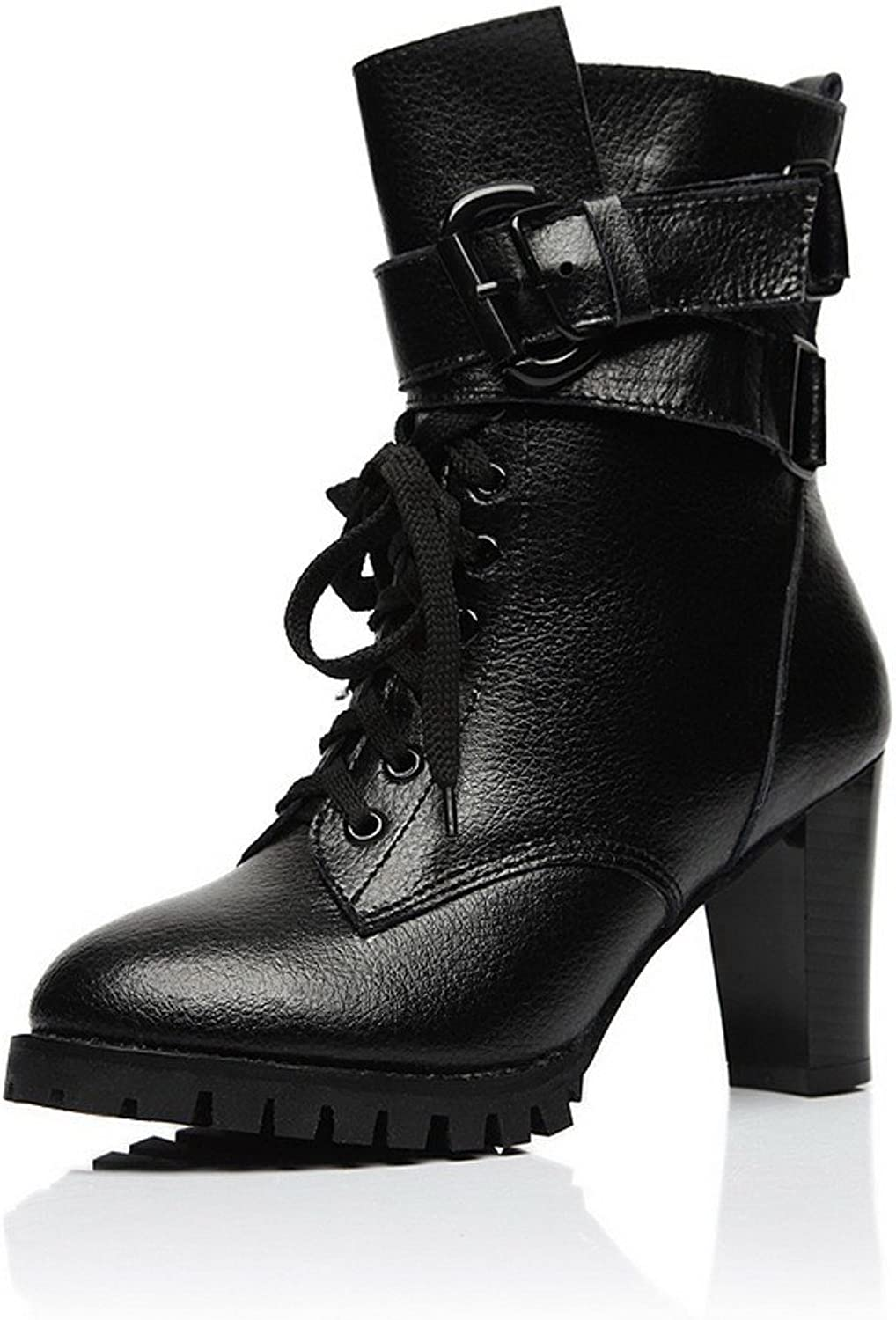 QueenFashion Women's Glitter Solid Ankle Boots with Zipper and Metal Buckles