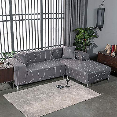 KIRA Spandex Stretch Sofa Cover Jacquard Sofa Covers 1/2/3/4 Seater Elastic Thickening L Shaped Sofa Cover Chaise Longue Simple Skin Friendly Four Seasons Available - with Pillowcase