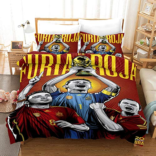 Duvet Cover King Size 240 x 220 cm with 2 Pillowcases 50 x 75 cm Bedding 3-piece set by Microfiber with Zipper Spain National Men's Football Team printing Duvet Cover set