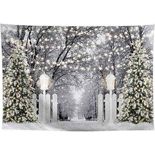 Allenjoy 7x5ft Winter Forest Photography Backdrop Glitter Christmas Trees Fence Street Lamps White Snowfield Wonderland Children Holiday Party Family Portrait Photo Studio Background Photobooth