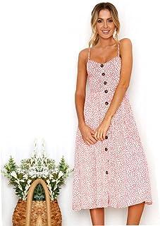 e4cde6b208 Dress for Women Summer Floral Bohemian Spaghetti Strap Button Down Swing  Midi Dress with Pockets Off