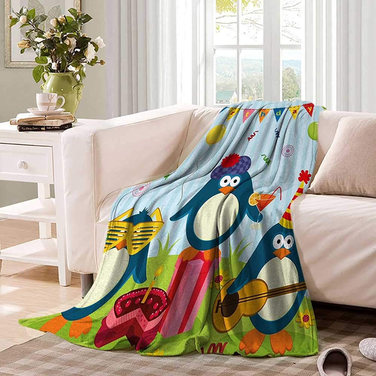 Kids BirthdayFlannel Single Student blanketCartoon Style Penguin Party with Flags Cakes and Surprise BoxStudent Blanket 60 x50  Light bluee and Fern Green