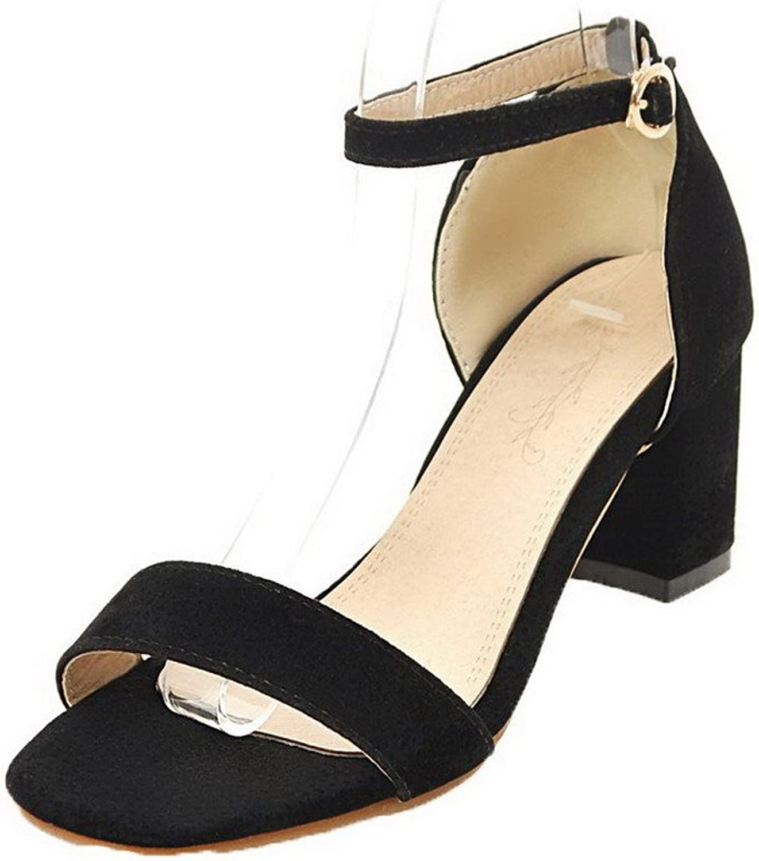 WeiPoot Women's Buckle Kitten-Heels Imitated Suede Solid Closed Toe Sandals