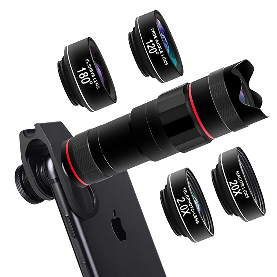 TONGTONG Mobile Telescope,18 Times Double Tone Telescope +180° fisheye Lens +120° Wide Angle Lens +2.0X telephoto Lens +20X Macro Lens for iPhone Samsung and Huawei and Most Smartphone