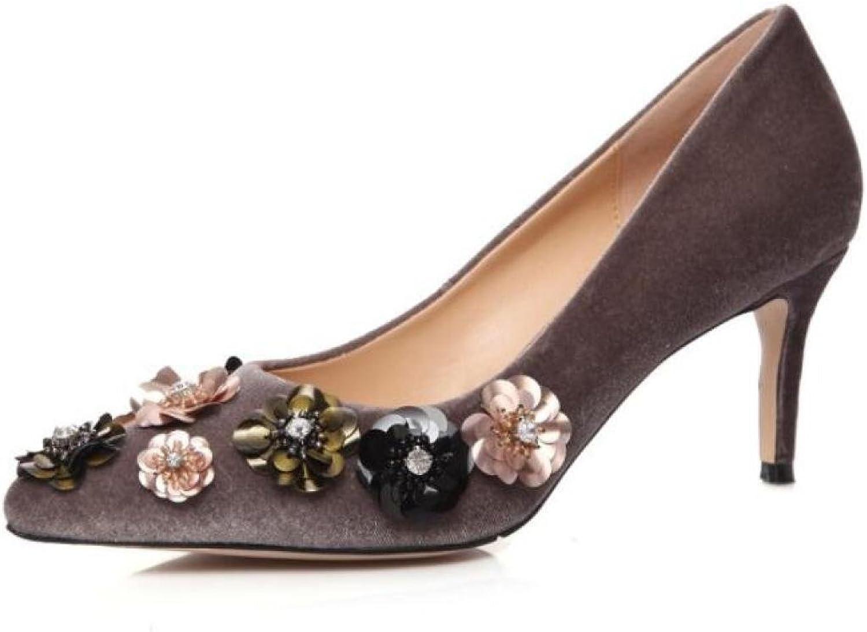 KNGMGK Frühling und Sommer High Heels Frauen Spitz Wildleder Einzelne Schuhe  | Neuer Stil