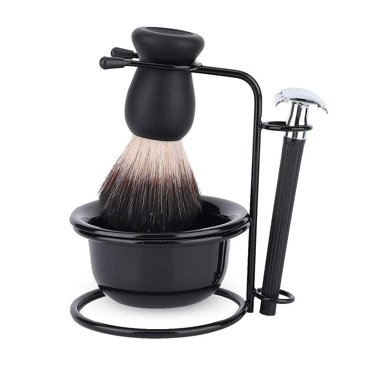 カヌー励起プリーツシェービングブラシセット ホルダー 剃刀 カミソリ プレゼント 洗顔 髭剃り 柔らかい毛 泡立ち メンズ